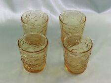 Set Of Four Vintage Anchor Hocking Milano Lido Honey Gold/Amber 8 oz. Tumblers