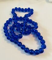 """Rare Vintage Cobalt Blue GLASS BEAD STRAND 24"""" NECKLACE Z105 Hand Knotted"""