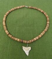 Resin Mako Shark Tooth Pendant Surfer Necklace for Men | Wooden Beads