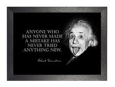 Albert Einstein Fehler schwarz weiß Inspiration Zitat Lustig Poster Nobel Foto