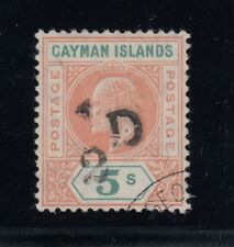 """Cayman Islands, SG 18 var, used """"Slotted Frame"""" variety, only 15 possible!"""