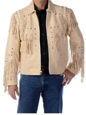 Mens New Western wear Cream Genuine Leather Jacket Bones Fringes and studs