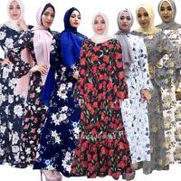 Ramadan Muslim Women Flower Print Long Maxi Cocktail Dress Islamic Abaya Vintage