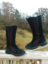 DANSKO WINTER BOOTS EMBROIDERED TALL BOOTS FLEUR BLACK SUEDE 38 7.5 8 EUC