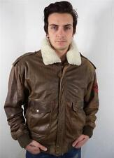 VINTAGE MENS CLASSIC BROWN LEATHER AIRFORCE FLEECE COLLAR FLYING JACKET L
