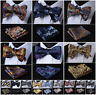 Hisdern Men Paisley Bow Tie Self Tie Gold Jacquard Silk Handkerchif Hanky Set