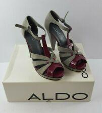 Aldo Ladies Leather High Heel sandals in grey suede & purple patent size 5 (38)