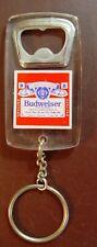 Vintage Budweiser Beer Clear Plastic Key Chain Bottle Opener.