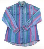 Wrangler Mens Vintage Denim Striped Pearl Snap XLong Tails Western Shirt 16-34