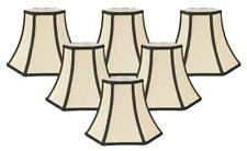 Royal Designs Decorative Trim Hexagon Chandelier Lamp Shade, Beige, Set of 6