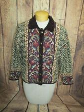 Icelandic Design Floral Wool Blend Cardigan Sweater Jacket Womens S Lined