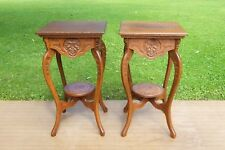 Antique Tiger Oak Table Fern Plant Stands w carvings & faces Matching Pair