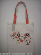 RADLEY - HIPPY DOG COTTON CANVAS TOTE / SHOPPER BAG  CORAL RADLEY & FLORAL PRINT