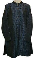 Chico's Design Long Button Front Duster Blazer Jacket Size 2 Blue Black
