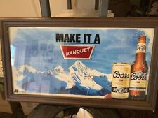 Large 3 Feet Wide Coors Beer Make It A Banquet Framed Advertising Sign