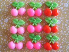 9 x Small Mixed Cherry Resin Flatback Cabochon Decoden Crafts Embellishments UK