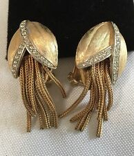VINTAGE 40'S CLEAR RHINESTONE ABSTRACT GOLD TONE CLIP ON EARRINGS
