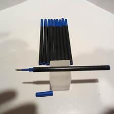 10 STANDARD PLASTIC BLUE MEDIUM ROLLERBALL REFILLS-FIT WATERMAN + VISCONTI+MORE