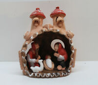 ⭐ Vintage Folk Art Terra Cotta Nativity Baby Jesus Mary Joseph Mexican Handmade