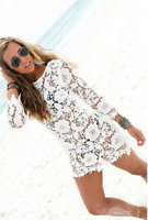 Women Bikini Cover Up Long Sleeve Lace Bathing Suit Beach Dress  Swimwear