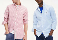 Tommy Hilfiger Mens Long Sleeve Cotton Striped Slim Fit Casual Shirt Top S - 2XL