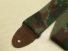 "LM Camo Camouflage 2"" green nylon guitar STRAP with leather ends NEW"