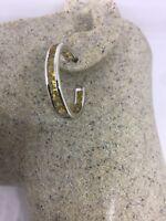 Vintage Genuine Gold Citrine Gemstone 925 Sterling Silver Hoop Earrings
