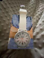 Speidel Scrub Analog Watch White Dial Military Time Wristwatch White Silicone