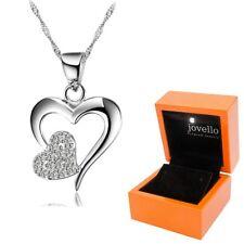 925 Silber Herz Heart Zirkonia Anhänger mit Kette Halskette + LED Holzbox