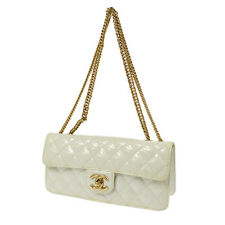 Auth CHANEL Quilted CC Double Chain Shoulder Bag White Patent Leather K07816