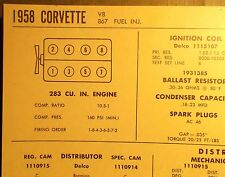 1958 Chevrolet Corvette 283 V8 Fuel Injection SUN Tune Up Chart Sheet Great!