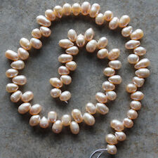 Peach Genuine Freshwater Pearl Rice Loose Beads Strand 15""