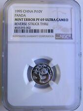 1995 1/10 oz China Platinum Mint Error Panda NGC PF69 UC 10 Yuan Chinese Coin