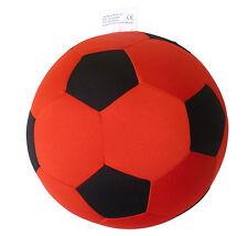 Fußball Kissen Ø ca.21cm schwarz/rot   Softball Stoffball Ball Softfußball