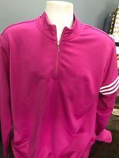 Adidas Xl Three Stripe Zipper Throw Over Raspberry And White