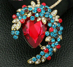 Gorgeous High End Rhinestone JEWEL Flower CRESCENT Moon Necklace Pendant Brooch