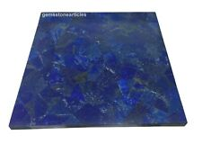 Rectangular Marble Lapis Lazuli Semi Precious Stones Side Table Top Handmade Art