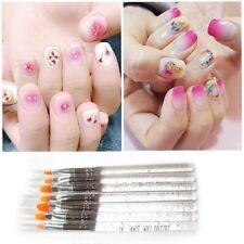 7Pcs Pro Nail Art Brush UV Gel Crystal Acrylic Painting Polish Pen transparent