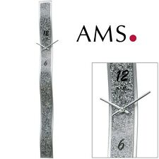 AMS 9416 Wall Clock Quartz Silver Colored, Design Synthetic Leather Application