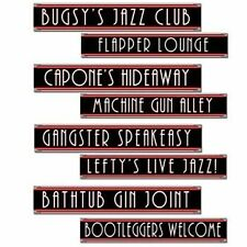 Roaring 1920s Gangster Street Sign Cutouts 4 Pack 20s Party Wall Decoration Prop