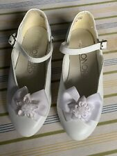 GIRLS WHITE DRESS SHOES SIZE 10.5 TODDLER MARY JANES WITH BOW