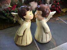 Vintage Christmas 8� Paper Mache Kissing Angel Boy Figurines Japan