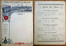 Benedictine 1890 French Restaurant Menu & Wine List - Gare Montparnasse - Paris