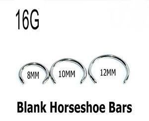 Eyebrow Nipple Bars 5 Horseshoe Barbell Blanks Body Jewellery Spares Earring 16g