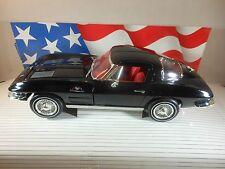 "REDUCED 1:18 -1963 Corvette Stingray Ertl black w/ red int ""split window"""