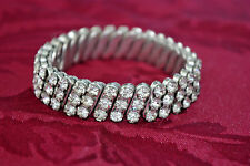 Vintage 3 Row Rhinestone Stretch Expansion Bracelet 1950's