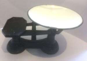 antique/vintage cast iron and enamel scales painted black and 4 iron weights
