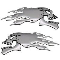 2x Totenkopf Flammen 3D Sticker Aufkleber Tribal Auto Motorrad Silber gespiegelt