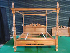 Super King 6' Acajou Naturel Queen Anne reproduction Four Poster Canopy bed