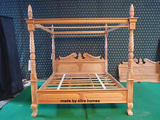Super KING 6' MAHOGANY natural Queen Anne reproduction Four poster canopy Bed
